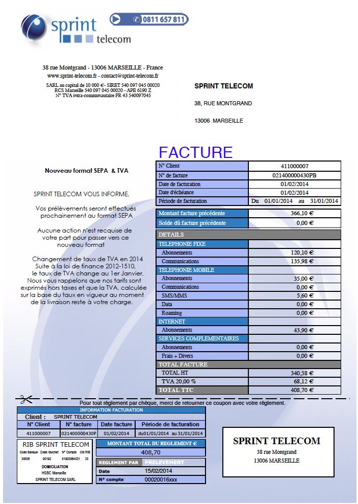 Facture Sprint Telecom